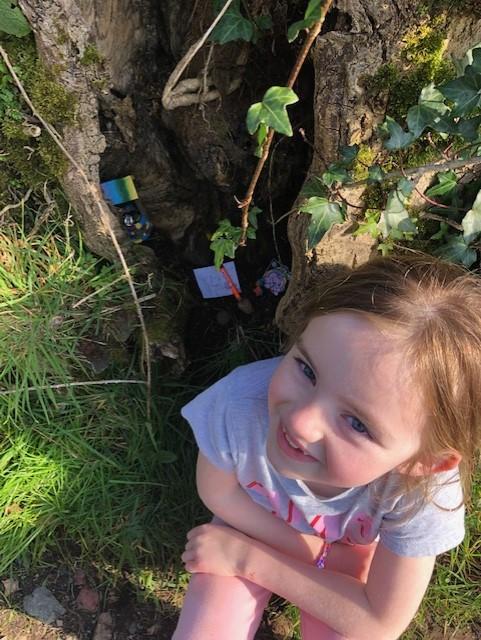 Grace Creating her very own Fairy Garden.
