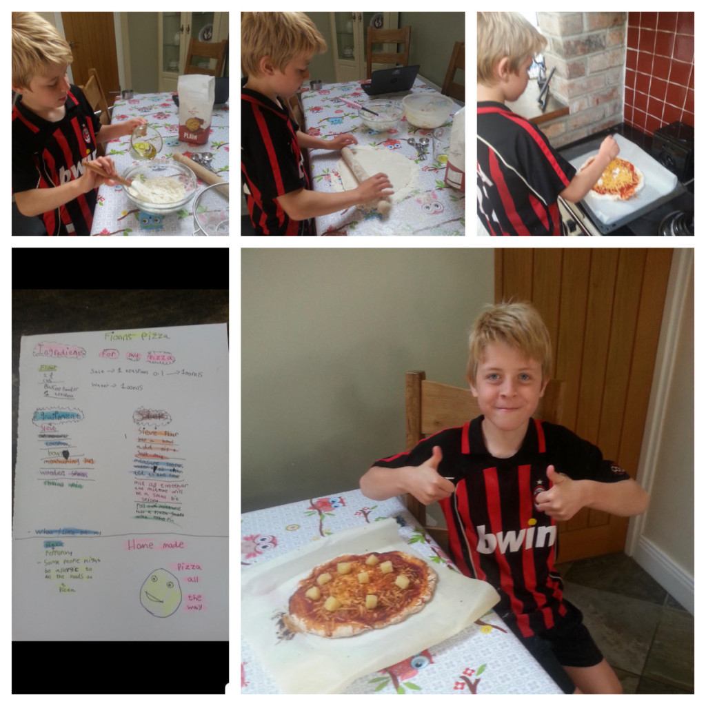 Fionn using his project to create his very own pizza.