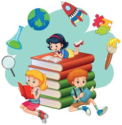 105053667-three-kids-reading-books